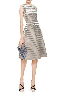 Velvet ribbon-paneled dress by Thom Browne