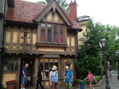 Great example of Tudor at Epcot. I particularly like the warmer caramel color of this combination of timber and plaster. Diamond-paned leaded glass windwos are VERY cool.