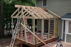 Screened porch project-two-more-rafters-go. Screened Porch Designs, Screened In Deck, Patio Deck Designs, Patio Design, Porch Roof, Side Porch, Back Patio, Backyard Patio, Front Porch