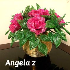 French Beaded  Roses arrangement by ANGELSBEADSFLOWERS on Etsy
