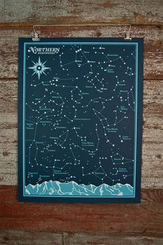 Northern Hemisphere Star Chart print by Brainstorm is a two color x limited edition signed and numbered screen print. You can pair it with their Southern Hemisphere print for a set of all the stars in the sky!