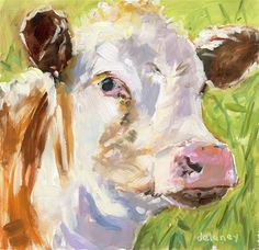 "Daily Paintworks - ""Cow 172 PERFECT MORNING"" - Original Fine Art for Sale - © Jean Delaney"