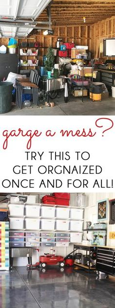 ORGANIZE THE GARAGE ONCE AND FOR ALL! Our dirty, dingy garage has become a clean, bright, organized, and pretty space. See how we did it!