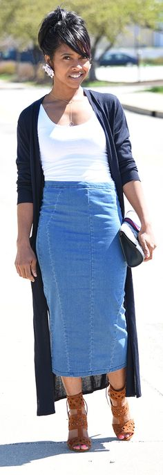 Denim skirt, Maxi Cardigan, Outfit Idea, Skirt Outfit Ideas, Spring Outfit Idea