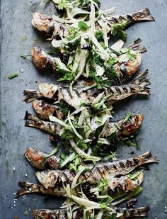 Grilled Sardines with Herbed Fennel-and-Olive Salad Recipe | http://aol.it/1tOu7ek