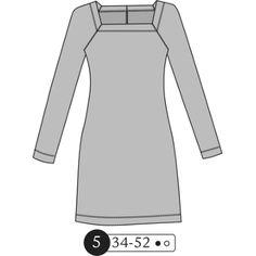 Ottobre Woman 2015-05#05 square neck raglan dress, long-sleeved, hemmed edges