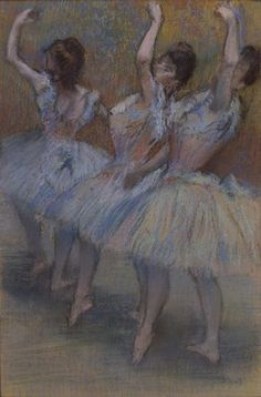 Trois Danseuses - Edgar Degas, c. 1895, pastel on paper laid down on board, private collection. Exhibited at the Dixon Gallery and Gardens, Memphis, TN http://www.dixon.org/ #degas