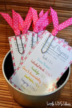Little LDS Ideas: {Personal Progress} Experience Bookmarks. These bookmarks have all the Personal Progress Experiences that can be completed in one day.
