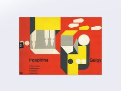"""From 1941–1970, J.R. Geigy A.G., the Swiss pharmaceutical and chemical company headquartered in Basel worked with leading designers to create a visual vocabulary know as the """"Geigy style"""". This 'anonymous' language was often (not exclusively) represented by white space, the use of Akzidenz-Grotesk type, photographs, stylized graphics or drawings, color contrasts and the use of a grid."""