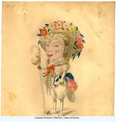 """Sheep-Charles Briton 1873. Costume design from Mistick Krewe of Comus' 1873 """"Missing Links"""" parade. Watercolor on paper."""