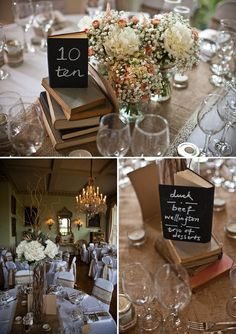 Old books and chalkboard book table numbers... FAB! Gold Wedding Gowns, Gold Wedding Theme, Wedding Book, Rustic Wedding, Our Wedding, Wedding Flowers, Dream Wedding, Wedding Bells, Book Centrepiece Wedding