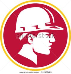 Illustration of a builder construction worker head wearing hardhat viewed from the side set inside circle on isolated background done in retro style. #constructionworker #retro #illustration