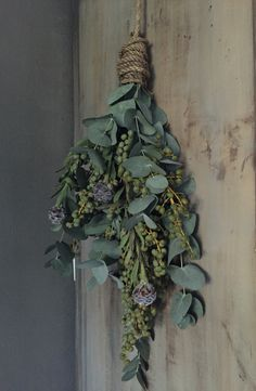 drying herb always smell nice and bring happy energy to a room. Christmas Door, Christmas Wreaths, Christmas Decorations, Xmas, Holiday Decor, L Eucalyptus, Mourning Dove, Decoration Inspiration, Christmas Inspiration
