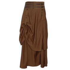 $65 EW-112 - Tan Steampunk Gathered Skirt with Belt Detailing - MADE TO ORDER