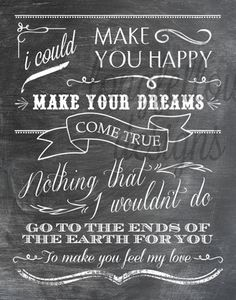 Make You Feel My Love - Adele/Garth Brooks Lyrics - 11 x 14 Chalkboard Look Print