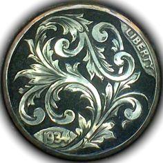 DIMAS SÁNCHEZ MORADIELLOS HOBO NICKEL - SCROLL - 1934 BUFFALO NICKEL Hobo Nickel, Buffalo, Cactus, Coins, Carving, Personalized Items, Art, Style, Sculpture