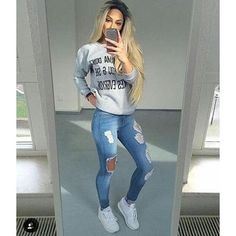 Hole Ripped Jeans Women Pants Cool Denim Vintage Straight Jeans Hole Ripped Jeans Women Pants Cool D Sneaker Outfits Women, Sporty Outfits, Fall Outfits, Teen Outfits, Summer Outfits, Plaid Outfits, Fashionable Outfits, Teenager Outfits, Stylish Dresses