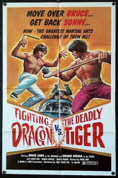 Fighting Dragon Vs. The Deadly Tiger - Original Action Movie Poster - 1980 - Bruce Liang Original movie poster from Fighting Dragon Vs. The Deadly Tiger, the 1980 Action movie starring Bruce Liang, Yasuaki Kurata & Yang Sze  Poster is in good shape & displays well. Black dots in the corners are magnets and do not show up on the actual poster!  My one-sheet posters generally measure 27 wide x 41 high, although some may be larger or smaller by an inch or two - if you need an exact mea...