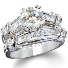 The Geneva Sterling Silver CZ Wedding Ring Set Fake set that looks like my real set perfect for vacations Ruby Wedding Rings, Art Deco Wedding Rings, Wedding Rings Vintage, Wedding Rings For Women, Diamond Engagement Rings, Mens Sterling Silver Necklace, Sterling Silver Wedding Rings, Sterling Jewelry, Silver Ring