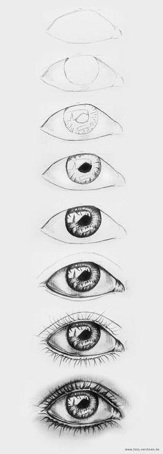 Pencil Drawing Tips 20 Amazing Eye Drawing Ideas Realistic Eye Drawing, Drawing Eyes, Painting & Drawing, Magic Drawing, Easy Eye Drawing, Drawing Of An Eye, Human Eye Drawing, Eyeball Drawing, Profile Drawing