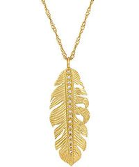 Melinda Maria Nina Feather Necklace with Clear CZ. Available at Carats in Stockton, CA!