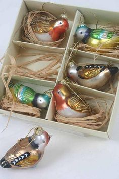 Set Of Six Coloured Glass Bird Decorations NOTHS