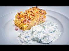 Schinkenfleckerl mit Rahmgurkensalat - Kochgenossen Macaroni And Cheese, Dinner Recipes, Dairy, Pasta, Meat, Ethnic Recipes, Europe, Foods, Kitchens