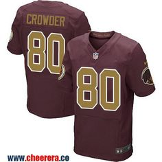 Men's Washington Redskins #80 Jamison Crowder Red With Gold Alternate Stitched NFL Nike Elite Jersey