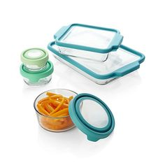 All-purpose glass cookware compatible with oven, microwave, freezer and dishwasher bakes, heats and keeps foods of all kinds with convenient, colorful storage-microwave lids in heat-resistant silicone. Versatile baking and storage dishes cover every size capacity for cooking, serving, mess-free reheating and saving leftovers.