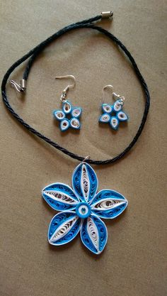 Quilled necklace set Quilling Earrings, Quilling Jewelry, Paper Quilling, Paper Art, Paper Crafts, Bead Necklaces, Paper Strips, Paper Beads, Silk Thread