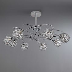 Chrome 8 Sphere Ceiling Light Fitting | Dunelm Lounge Lighting, Home Lighting, Room Lights, Ceiling Lights, Ceiling Light Fittings, Crystal Chandelier Lighting, Twisted Metal, Lamp Light, Chrome