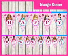 American Girl Triangle Banner instant download by printnatyparty