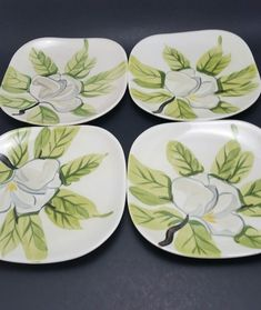 4 Red Wing Dessert Plates Magnolia Pattern Hand Painted 6 1 4in Redwing