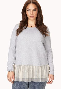 Romantic Tulle-Trimmed Top $24.80 I feel like I could make this as a craft project...