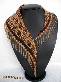 Beaded Scarf (Beaded Necklace) – The Free Bead Encyclopedia Scarf Necklace, Seed Bead Necklace, Seed Bead Jewelry, Bead Jewellery, Beaded Jewelry, Diy Jewelry, Necklace Ideas, Beaded Necklaces, Jewelry Making