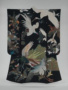 Japan, furisode with birds in flight, Showa period (1926-1989)
