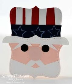 By Becky Jensen. Uncle Sam from a Top Note die-cut. Could use a Spellbinders labels die instead.