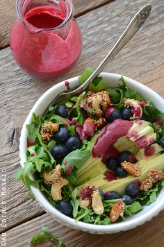 Arugala Breakfast Salad with Stovetop Maple Nut Brittle and Blueberry Lemon Dressing Recipe