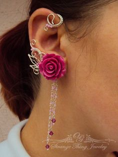 Pair of wire wrapped ear cuffs Spanish rose by StrangeThingJewelry