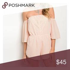 Off-shoulder blush romper - S,M,L . Also available in white  . 100% polyester . Model is wearing the exact product  . Model is wearing a size small  . My boutique uses the same distributors & carries the same products you'll find at Nasty Gal, ASOS, Urban Outfitters, Sabo Skirt, Pacsun, Nordstrom, Misguided, TOBI, LF, love culture, Charlotte Russe, Buckle, Windsor, & many many more.  Any questions? Don't hesitate to ask ❤️ Pants Jumpsuits & Rompers