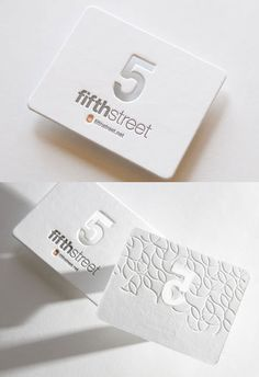 White Letterpress biz Cards