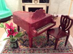 Jaydon MARBLED GRAND PIANO + CHAIR Vintage Dollhouse Furniture fits Renwal Ideal