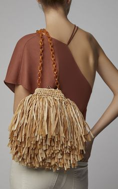 Mae Small Raffia Shoulder Bag by Carolina Santo Domingo Ethno Style, Diy Accessoires, Crochet Shell Stitch, Crochet Handbags, Crochet Bags, Boho Bags, Purse Patterns, Knitted Bags, Purses And Handbags
