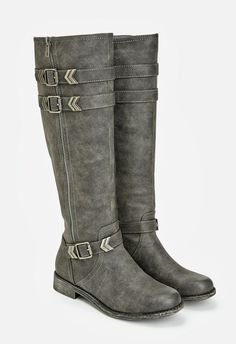 Buckles and zippers make this tall boot anything but ordinary. This faux leather look is sure to elevate your autumn wardrobe. ...