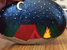 Camping site, painted rock