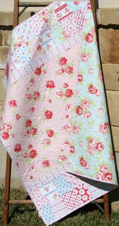 Baby Girl Quilt, Shabby Chic, Traditional Modern, Crib Bedding, Nursery Decor, LuLu Roses Tanya Whelan, Roses Flowers Pink Blue Tumbler by SunnysideDesigns2