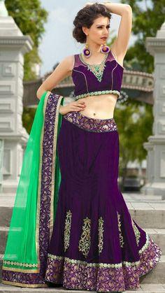 USD 176.94 Purple Embroidery Velvet Wedding Lehenga Choli 28472
