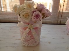 Shabby Chic vidro decorado com rendas