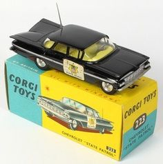 Corgi Toys 223 Chevrolet State Police Car with Box – Toys Ideas Metal Toys, Tin Toys, Corgi Toys, Matchbox Cars, Kids Tv, Hot Wheels Cars, Emergency Vehicles, Classic Toys, Police Cars