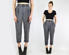 vintage 80s gray tweed HIGH WAIST SKINNY pants / by trashyvintage